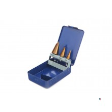 HBM 3-piece conical plate drill set with tin coating