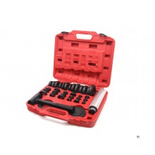 HBM 37-piece wheel bearing and gasket disassembly set including non-recoil hammer