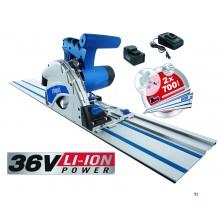 Scheppach pl55li cordless plunge circular saw machine 36v 2.0ah li-ion 160 mm + 2 x ruler 700 mm + coupling piece
