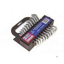 HBM 10 stykke kort metrisk søm - Ring nøkkel sett