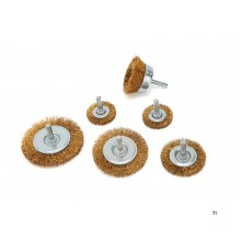 HBM 6-piece wire brush / sanding brush set for the drill