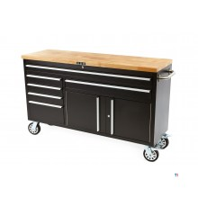 HBM 152 cm. Professional tool trolley / workbench with wooden blade - BLACK