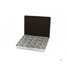 Hbm 20-delar 33 mm aluminium förvaringslådor sortiment i förvaringslåda