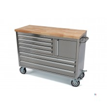 HBM 122 cm. Prof. Dr. Stainless steel tool trolley / workbench with wooden top