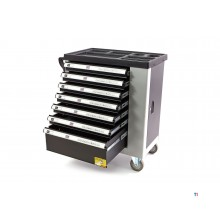 Hbm 7 lådor lyxig verktygsvagn med dörr - svart / grå