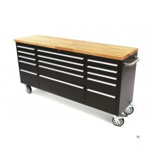 HBM 182 cm.prof. tool trolley / workbench with wooden top - black