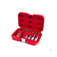 HBM 17-piece mad, broken nuts, bolts and studs extractor set
