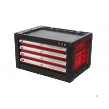 HBM 4 lådors verktygsskåp - RÖD - andrahand