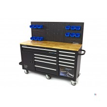 HBM 158 cm. 10-drawer workbench with door and rear wall