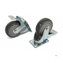 HBM profi 100 mm. swivel castor with foot plate and brake