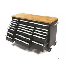 HBM 20 lådor Verktygsvagn / arbetsbänk med träbänkskiva - andrahand