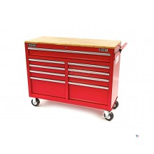 HBM 117 cm Mobile Tool trolley Workbench with wooden top Red