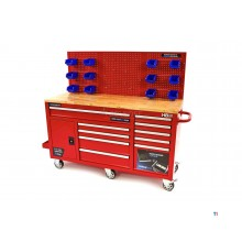 HBM 158 cm 10 drawers workbench with door and rear wall - red