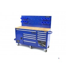 HBM 158 cm 10 drawers workbench with door and rear wall - blue