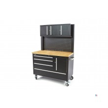 HBM 122 cm Profi Workbench with Cupboard Wall and Wood Sheet - BLACK