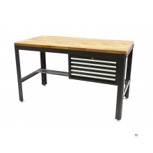 HBM 155 cm professional workbench with 5 drawers and wooden worktop