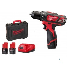 Perceuse-visseuse sans fil milwaukee m12bdd-202c 12v 2.0ah
