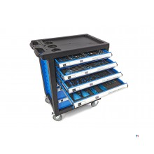 HBM 154 Piece Filled Tool Trolley - Blå