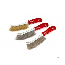 HBM 3-piece stainless steel, brass and steel brush set