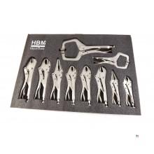 HBM 10-piece locking pliers Foam inlay for tool trolley