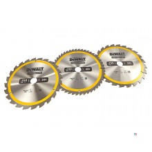DeWALT DT1963-QZ 3 Piece Circular Saw Blades Set 250x30mm 2x24 Teeth 1x48 Teeth