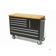 HBM 122 cm. Professional tool trolley / workbench with wooden blade - BLACK
