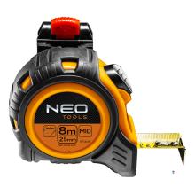 metro a nastro neo 8 m, magnetico, clip da cintura rivestito in nylon larghezza di banda 25 mm